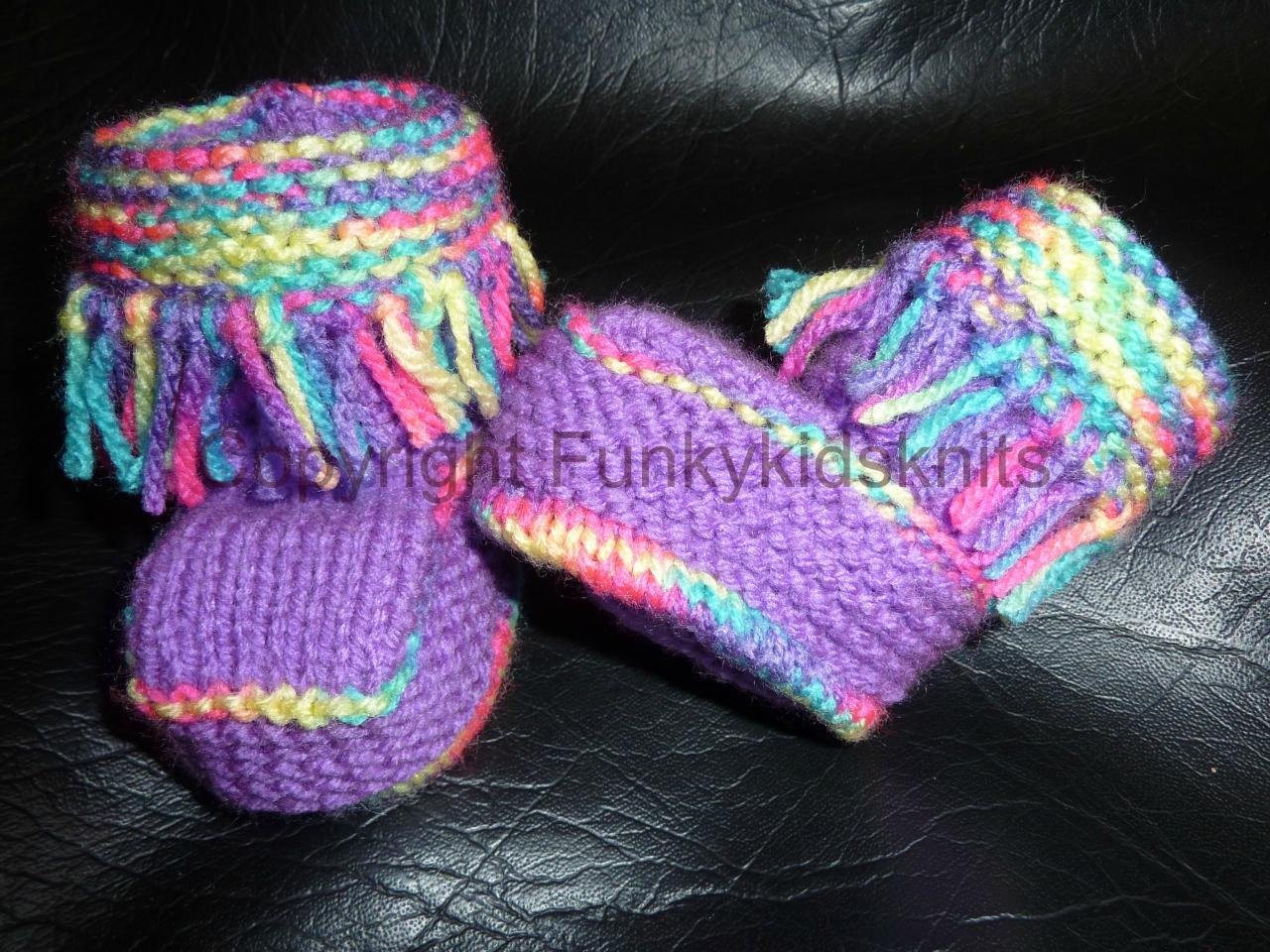 Hand Knitted Funky Baby Booties on Luulla