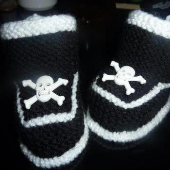 Baby Goth Booties with Skull and Cross bone Button 6 - 12 Months