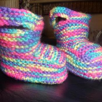 HAND KNITTED BABY WELLY BOOTIES